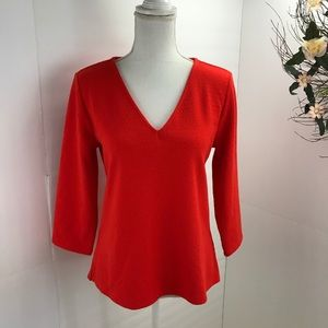 Ann Taylor factory textured orange blouse